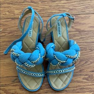 Denim block heel braided chain sandal